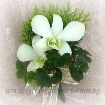 CG00810-Buttonhole Corsage-2 Wh Orchids