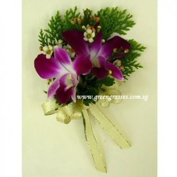 CG01011-Buttonhole Corsage-2 Bon Orchid w/F
