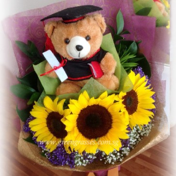 "GRHB09206-GLSW-3 Sunflower w/7.5"" Graduation Bear"