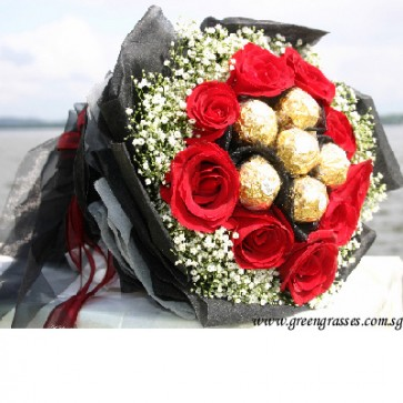HB08520-DRW-9 Red Rose+6 Ferrero Rocher Chocolate