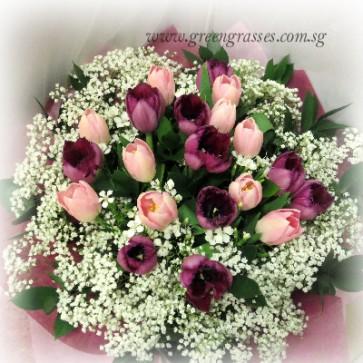 HB13510-ORW-20 Tulip(Pk+Ppl) Hand Bouquet
