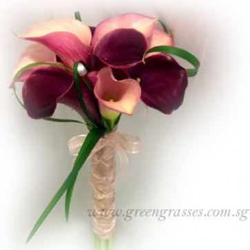 WB13027-PWP-10 Burgundy Calla Lily hand bouquet