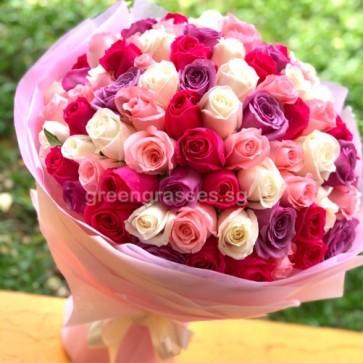 GHB30072-LGRW-99 Roses(Wh+Pk+Hot Pk+Purple)