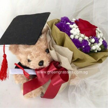 """GRHB05045-LGRW-1 Red Rose tie with 7.5"""" Brown Graduate Bear"""