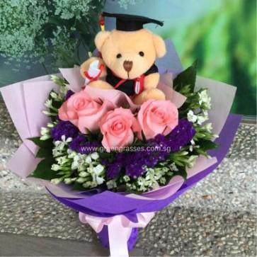 "GRHB06313-GLSW-3 Pk Rose w/4"" Graduate Bear"