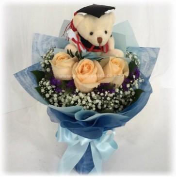 "GRHB06829-GLSW-3 Champagne Rose w/4"" Graduate Bear"