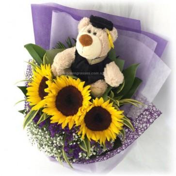 """GRHB09213-GLSW-3 Sunflower w/9"""" Graduate Bear"""