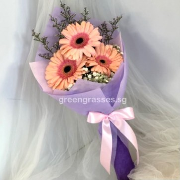 HB04583-SW-3 Pk Gerbera Hand Bouquet