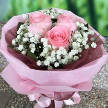 HB05087-LGRW-3 Pk Rose hand bouquet