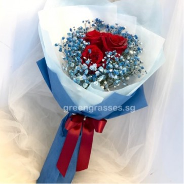 HB06043-SW-3 Red Rose w/Blue Baby's Breath