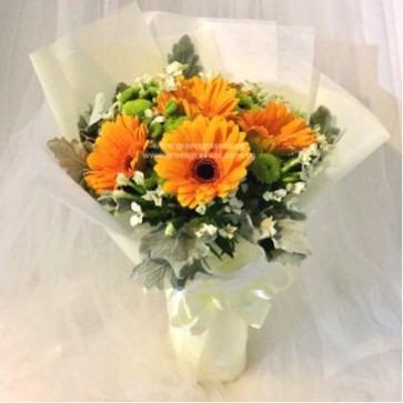 HB06513-ORW-6 Orange Gerbera hand bouquet