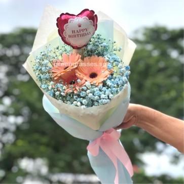 HB06544-KW-3 Pk Gerbera w/Blue BB+Birthday Balloon