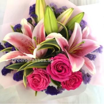HB07908-ORW-Pk Lily+3 Hot Pk Rose Rose