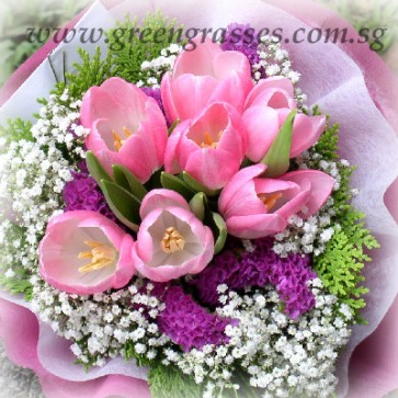 HB08535-LLGRW-8 Pk Tulip hand bouquet