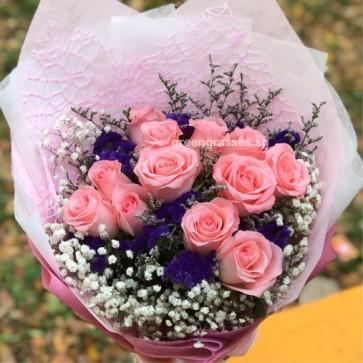 HB08550-ORW-12 Pk Roses hand bouquet