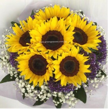HB08808-LLGRW-6 Sunflower hand bouquet