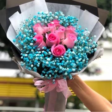 HB09004-SW-10 Hot Pk Rose w/Blue BB