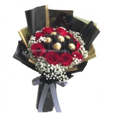 HB09542-9 Red Rose+6 Ferrero Rocher Chocolate