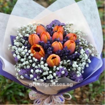 HB10061-ORW-10 Orange Tulip hand bouquet