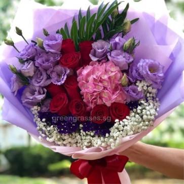 HB11013-GLSW-Red Roses+Pk Hydrangea+Ppl Eustoma