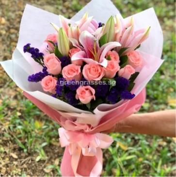 HB11028-ORW-Pk Roses+Pk Lilies hand bouquet