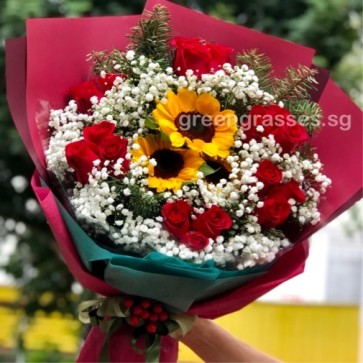 HB12508-GLSW-3 Sunflower+18 Red Rose