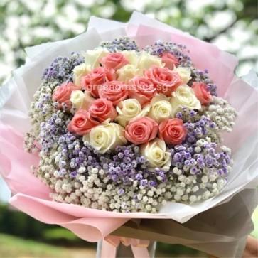 HB14205-LLLGRW-24 Roses(Pk & Wh)