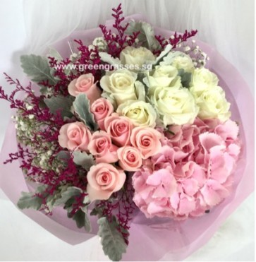 HB15030-DRW-Pk Hydrangea+16 Roses(Wh+Pk) Hand Bouquet