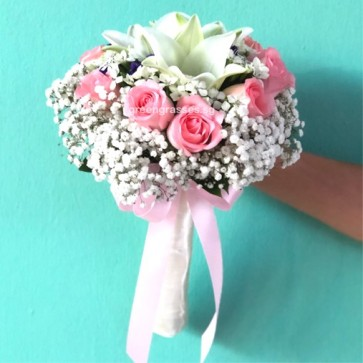 WB11322-ROM-3 Wh Lily w/9 Pk Roses