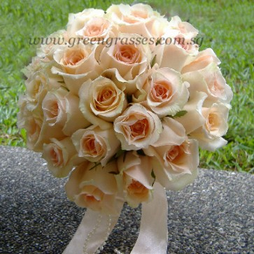 WB13228D-ROM-24 Champagne Rose hand bouquet
