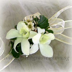 CGW01803-Wrist Corsage-2 Wh Orchids