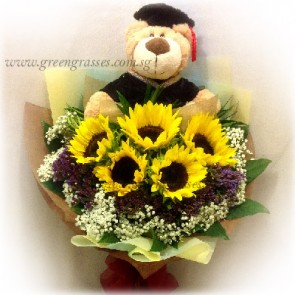 GRHB10705-GLSW-5 Sunflower w/Graduation Bear