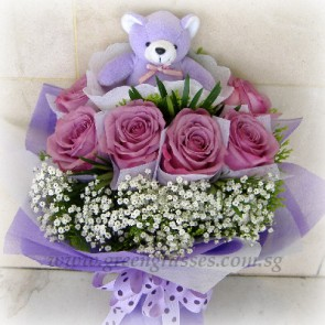 HB11020-GLSW-6 Ecuador Purple Rose w/Bear