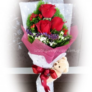 HB06032D-LSW-3 Red Rose+Bear