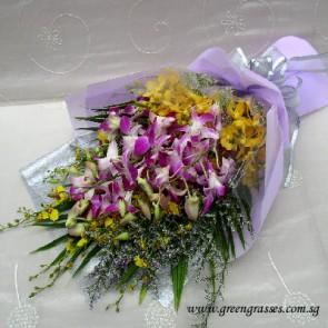 HB08051-LSW-Orchids hand bouquet
