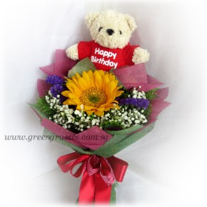 HB06537-GLSW-1 Sunflower w/Birthday Bear
