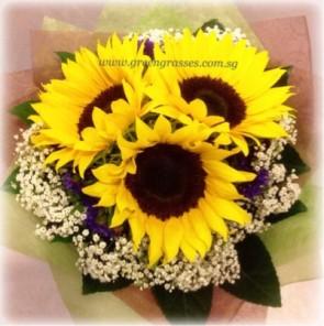 HB06558-LLGRW-3 Sunflower hand bouquet