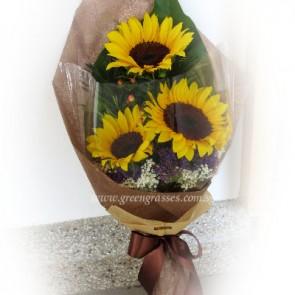 HB07048-LSW-3 Sunflower hand bouquet