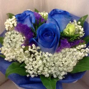 HB07571-LLGRW-3 Ecuador Blue Rose hand bouquet