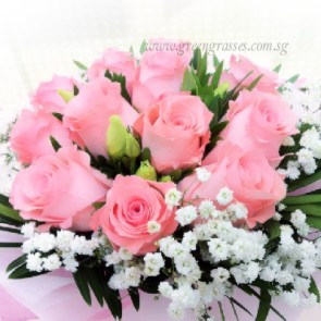 HB07067-LGRW-12 Pk Rose hand bouquet