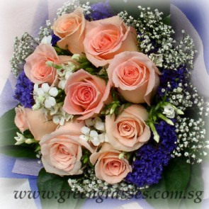 HB07928D-ORW-9 Champagne Rose hand bouquet
