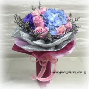 HB09813-DRW-9 Pink Rose+Hydrangea