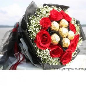HB08520-DRW-9 Red Rose+6 Ferrero Rocher Chocolate