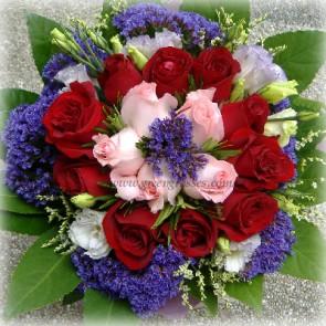 HB08909D-LLLGRW-15 Roses(10Red+5Pk)