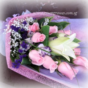 HB08549-LSW-1 Wh Lily+9 Pk Rose