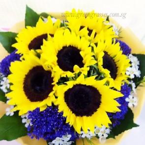 HB08806-LLGRW-6 Sunflower hand bouquet