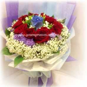 HB09806-LLGRW-10 Rose(1 Ecuador Blue+9 Red)