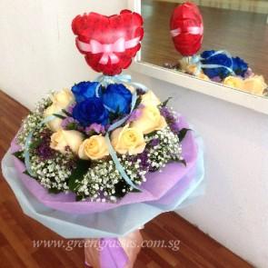 HB11123D-LLGRW-12 Rose(9 Champagne+3 Ecuador Blue) w/Balloon