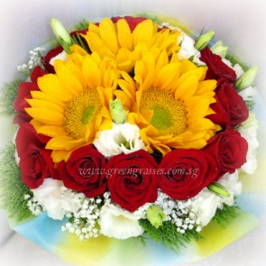 HB10528-LLGRW-12 Red Rose+3 Sunflowers