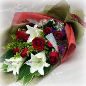 HB10515D-LSW-3 Wh Lily+12 Red Rose